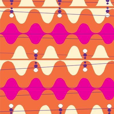 Retro Wave Pattern Orange--Premium Giclee Print