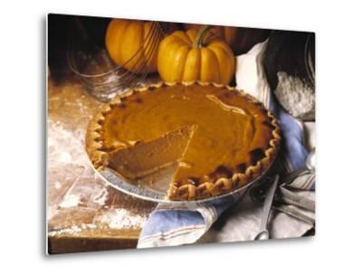 Pumpkin Pie with Slice Removed-Envision-Metal Print