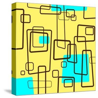 Retro Square Pattern Blue and Yellow--Stretched Canvas Print
