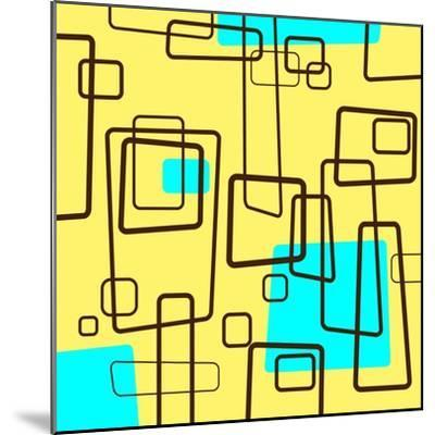 Retro Square Pattern Blue and Yellow--Mounted Giclee Print