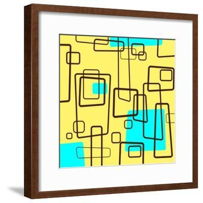 Retro Square Pattern Blue and Yellow--Framed Giclee Print