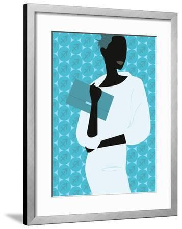Woman Carrying Clutch Purse--Framed Giclee Print