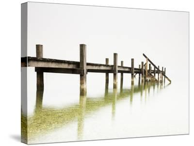 Pier on Foggy Lake-Frank Lukasseck-Stretched Canvas Print