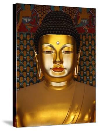 Detail of Sakyamuni Buddha Statue in Main Hall of Jogyesa Temple-Pascal Deloche-Stretched Canvas Print