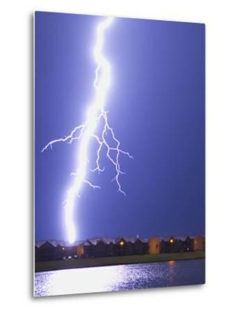 Lightning Striking an Apartment Complex-Jim Reed-Metal Print