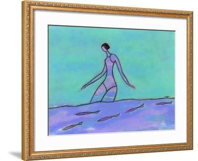Woman Walking in the Water-Marie Bertrand-Framed Giclee Print