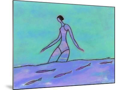Woman Walking in the Water-Marie Bertrand-Mounted Giclee Print