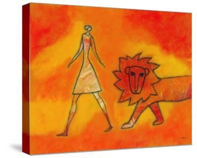 Woman Walking with a Lion-Marie Bertrand-Stretched Canvas Print