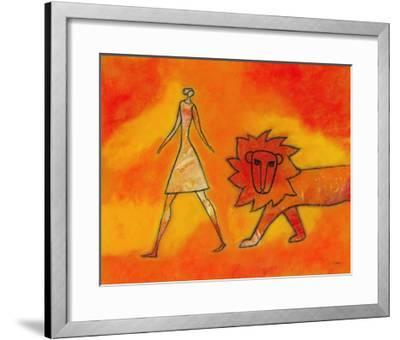 Woman Walking with a Lion-Marie Bertrand-Framed Giclee Print
