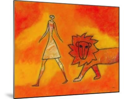 Woman Walking with a Lion-Marie Bertrand-Mounted Giclee Print