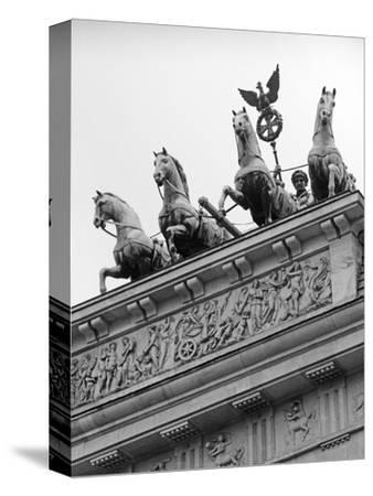 Statues on Top of Brandenburg Gate-Murat Taner-Stretched Canvas Print