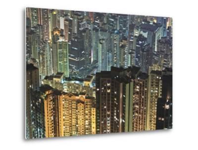 Apartment buildings in Hong Kong at night-Rudy Sulgan-Metal Print