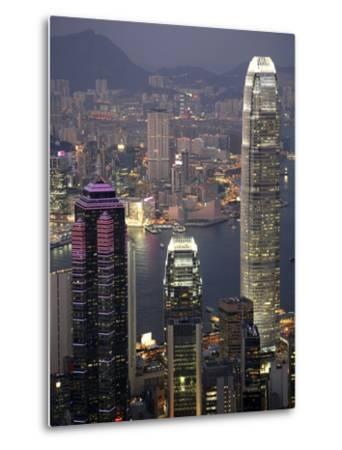 Hong Kong skyline and Victoria Harbor at night-Tibor Bogn?r-Metal Print