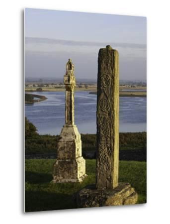 Gravestones at Clonmacnoise monastery-Doug Pearson-Metal Print