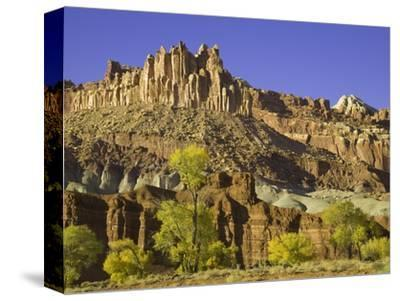 Castle and Fluted Wall Formations in Capitol Reef National Park-John Eastcott & Yva Momatiuk-Stretched Canvas Print
