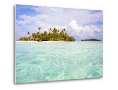 Sea kayaks on the beach of a coconut palm tree island-Frank Lukasseck-Metal Print
