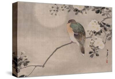 Japanese watercolor of bird perched on a branch of a blossoming tree--Stretched Canvas Print