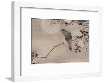Japanese watercolor of bird perched on a branch of a blossoming tree--Framed Giclee Print