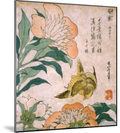 Peony and Canary-Katsushika Hokusai-Mounted Premium Giclee Print