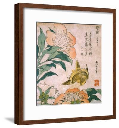 Peony and Canary-Katsushika Hokusai-Framed Premium Giclee Print