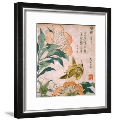 Peony and Canary-Katsushika Hokusai-Framed Giclee Print