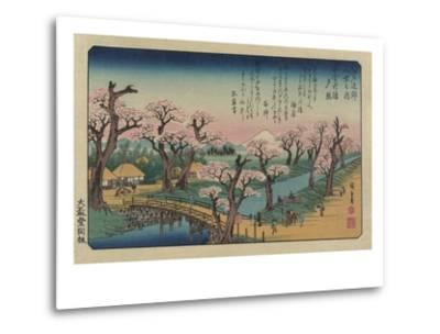 Evening Glow at Koganei Bridge-Ando Hiroshige-Metal Print