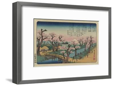 Evening Glow at Koganei Bridge-Ando Hiroshige-Framed Giclee Print