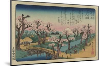 Evening Glow at Koganei Bridge-Ando Hiroshige-Mounted Giclee Print