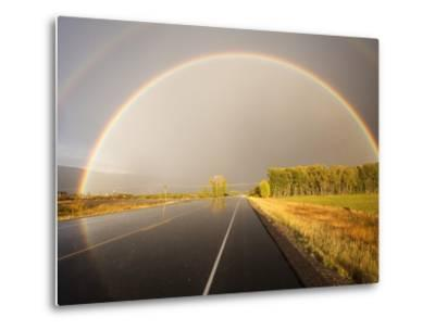 Double rainbow on country road in autumn-Frank Lukasseck-Metal Print