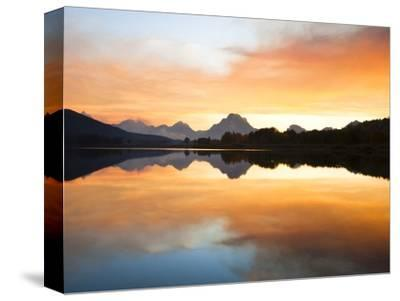 Sunset over the Snake River at Oxbow Bend-Frank Lukasseck-Stretched Canvas Print