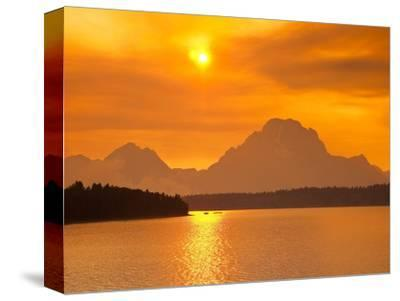 Sunset over Jackson Lake-Frank Lukasseck-Stretched Canvas Print