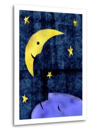 Crescent moon and sleeping man-Harry Briggs-Metal Print