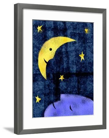 Crescent moon and sleeping man-Harry Briggs-Framed Giclee Print