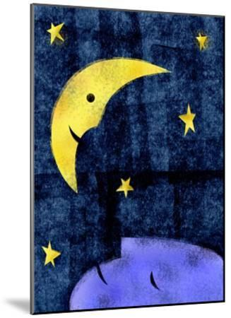 Crescent moon and sleeping man-Harry Briggs-Mounted Giclee Print