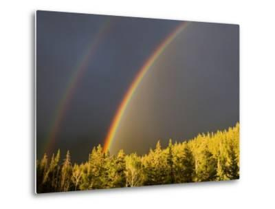 A Double Rainbow During a Storm in Banff National Parknear Banff Alberta, Canada.-Josh McCulloch-Metal Print