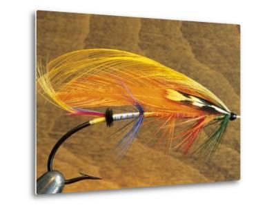 Atlantic Salmon Fly in Flytying Vise, Canada.-Keith Douglas-Metal Print