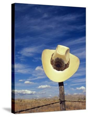 Cowboy Hat on Barbed Wire Fence, British Columbia, Canada-Gary Fiegehen-Stretched Canvas Print