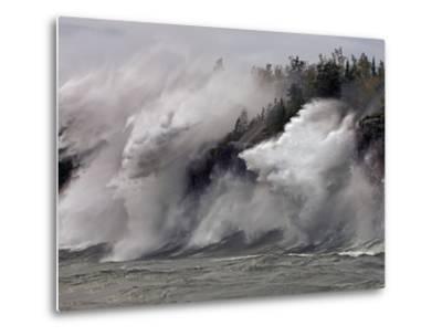Fierce Lake Superior waves pound Minnesota's north shore-Layne Kennedy-Metal Print
