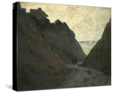 The Sunken Road in the Cliff at Varengeville-Claude Monet-Stretched Canvas Print