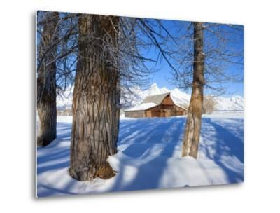 Barn below Teton Range in winter-Frank Lukasseck-Metal Print