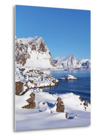 Coastal mountains in the Lofoten Islands in new snow-Frank Krahmer-Metal Print