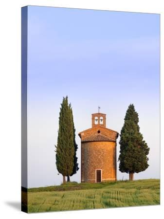 Chapel and cypress trees-Frank Lukasseck-Stretched Canvas Print