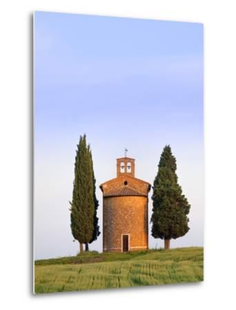 Chapel and cypress trees-Frank Lukasseck-Metal Print