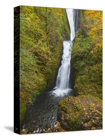 Bridal Veil Falls in autumn-John Eastcott & Yva Momatiuk-Stretched Canvas Print