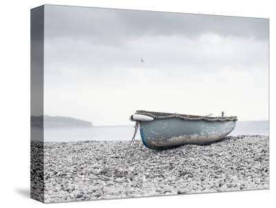 Boat at Beach in Devon-Simon Plant-Stretched Canvas Print