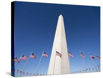 Washington Monument surrounded by American flags-Jos? Fuste Raga-Stretched Canvas Print