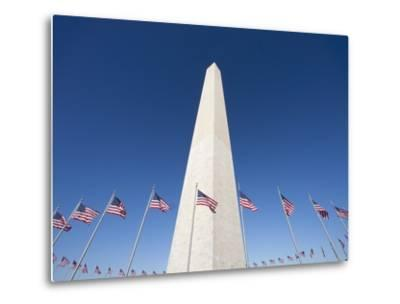 Washington Monument surrounded by American flags-Jos? Fuste Raga-Metal Print