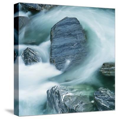 Rushing water and rocks on South Island, New Zealand-Micha Pawlitzki-Stretched Canvas Print