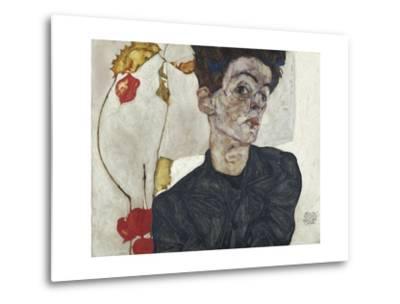 Self-Portrait with Chinese Lantern Plant-Egon Schiele-Metal Print