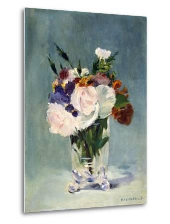 Flowers in a Crystal Vase-Edouard Manet-Metal Print